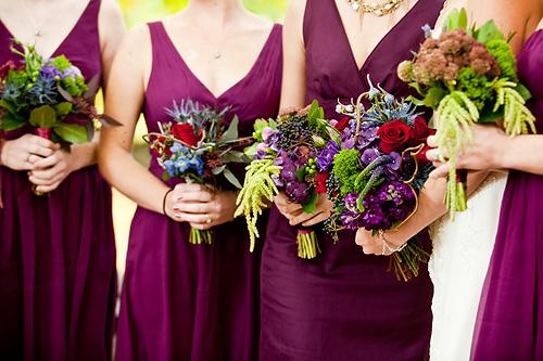 Purple Bridesmaids Dresses with Wildflower Bouquets