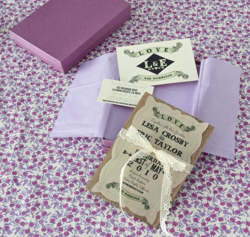 Purple Rustic Chic Boxed Wedding Invitation