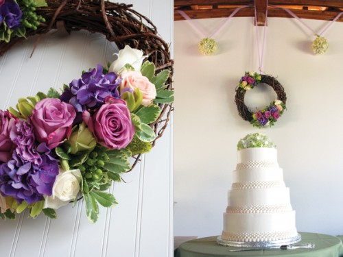 Purple and Green Floral Wedding Wreath Cake Table Decor