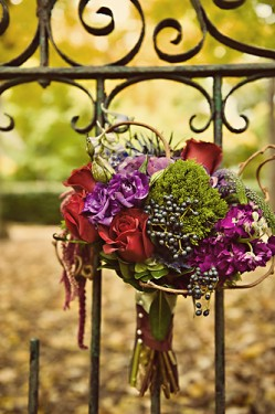 Purple and Red Fall Bouquet