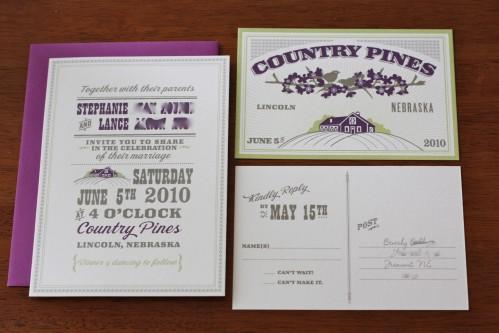 Barn and Lovebird Wedding Invitations