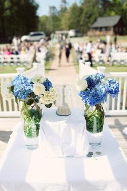 Blue Hydrangeas Wedding Altar Decor