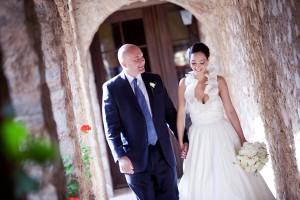 Bride and Groom in Stone Walkway