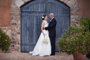 Bride and Groom in front of Black Gate
