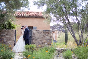 Bride and Groom with Stone Gate
