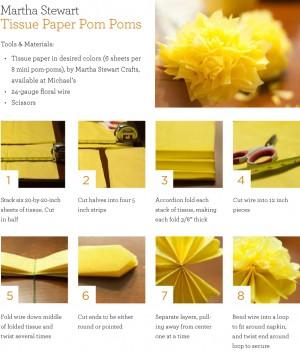 DIY Tissue Paper PomPom Instructions