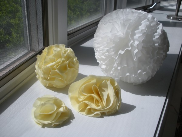 Fabric Poms and Flowers