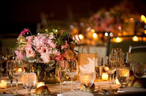 Elegant Pink and Green Centerpiece