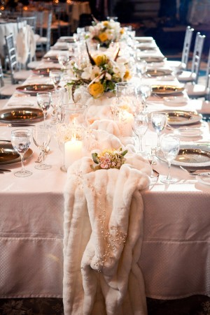 Estate Table with Wintry Faux Fur Table Runner