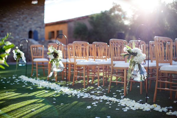 Flowers Lining Aisle Outdoor Wedding Ceremony