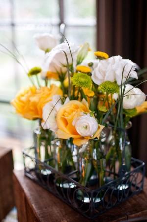 Flowers in Glass Milk Jars