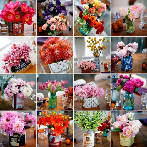 Flowers-in-Vintage-Tin-Containers