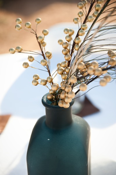 Gold branches in vases centerpiece elizabeth anne
