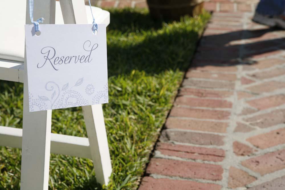 Hanging Reserved Sign Wedding Ceremony