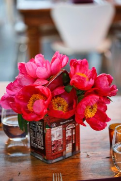 Hot Pink Flowers in Vintage Tin