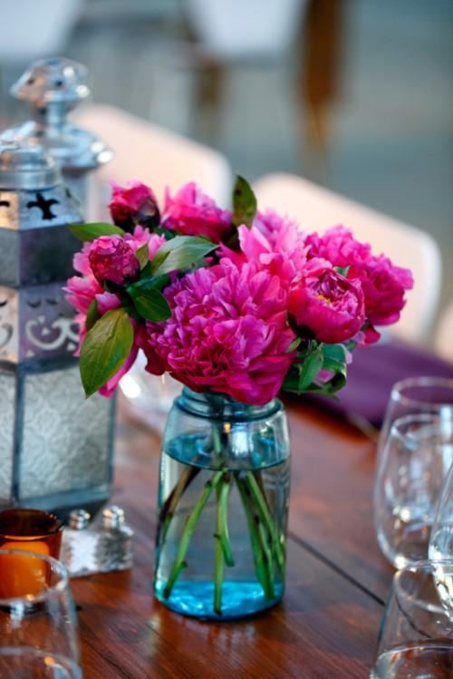 Hot pink peonies in blue mason jar elizabeth anne