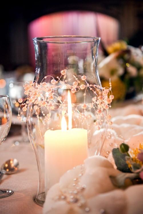Hurricane Glass And Beads Wedding Centerpiece Elizabeth Anne