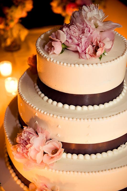 Real Weddings: Kathy + Tony Ivory Wedding Cake with Pink Flowers