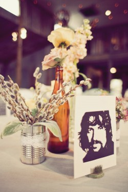 Lace-Wrapped Tin Can Wedding Centerpiece Ideas