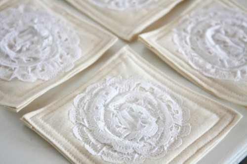 Lace and Cotton Coaster Tutorial