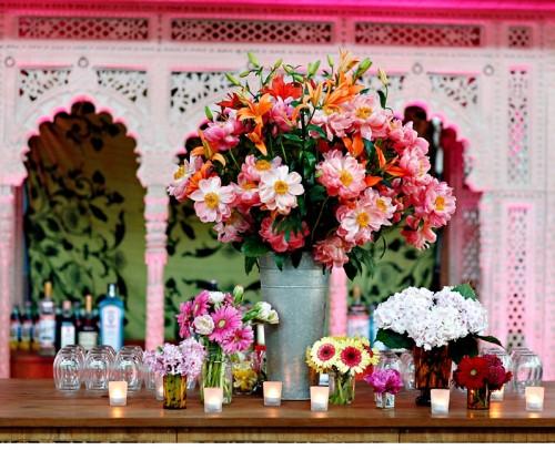 Large Pink Orange and Red Flower Arrangement
