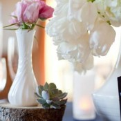 Milk-Glass-and-Tree-Stump-Centerpiece