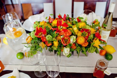 Orange and Yellow Tropical Centerpiece Kio Kreations