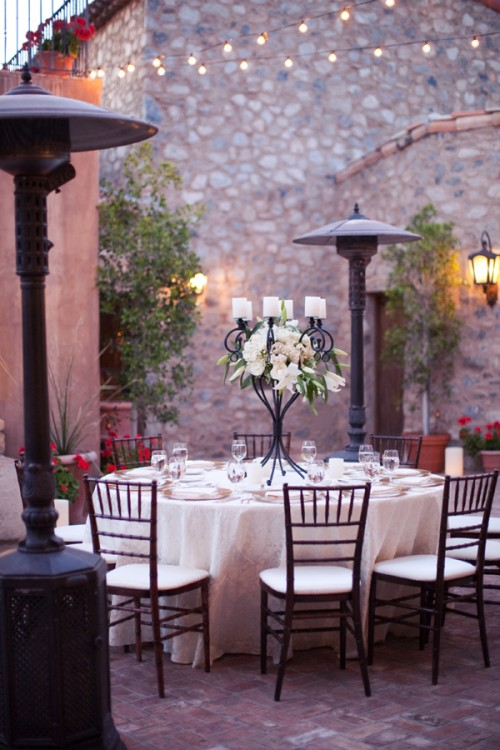 Outdoor Wedding Reception White Linens Brown Chivari Chairs