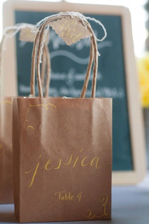 Paper Bags with Calligraphy Favors and Escort Cards