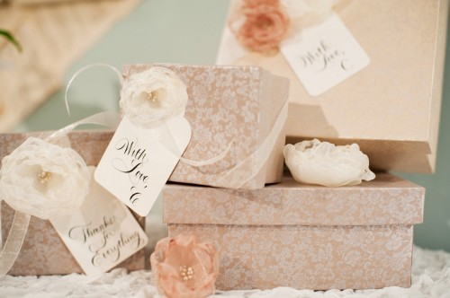 Peach and Pink Gift Wrap with Organza Flowers
