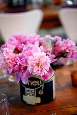 Pink Flowers in Vintage Tin Container