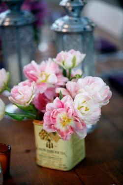Pink Flowers in Vintage Tin Vase