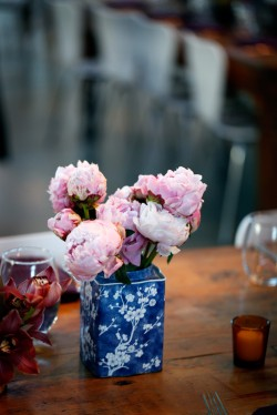 Pink Peonies in Blue Vintage Tin