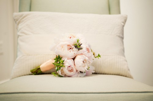 Pink Peony Bouquet with Peach Ribbon