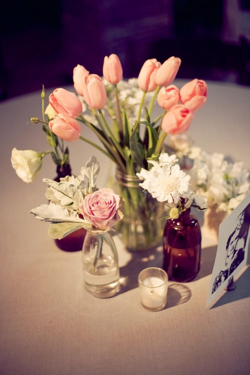 Pink Tulips in Mason Jar Wedding Centerpiece Ideas - Elizabeth ...