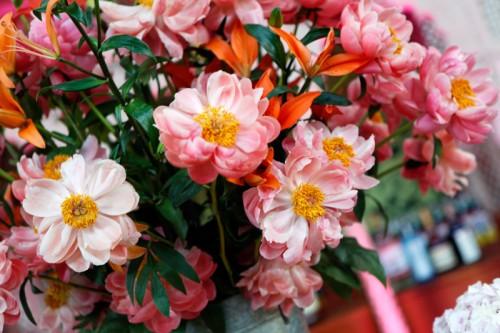 Pink and Orange Centerpiece