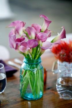 Purple Calla Lillies in Blue Mason Jar