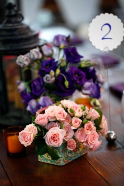 Purple and Pink Flowers in Vintage Tin Containers