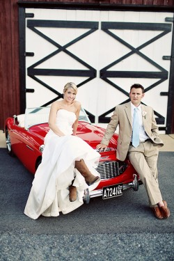 Red Convertible Wedding Portraits