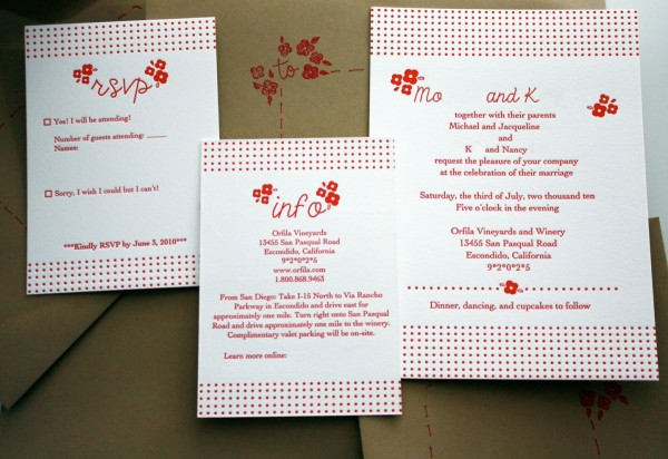 Red Letterpress Wedding Invitations