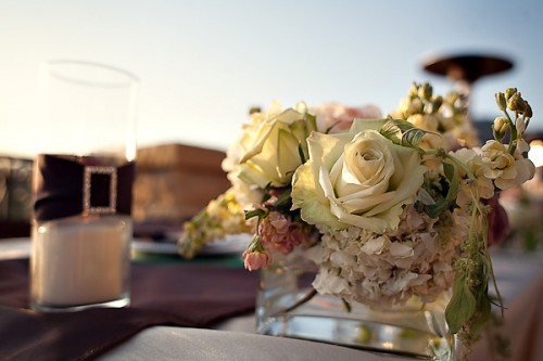 Rose and Sweet Pea Wedding Centerpiece
