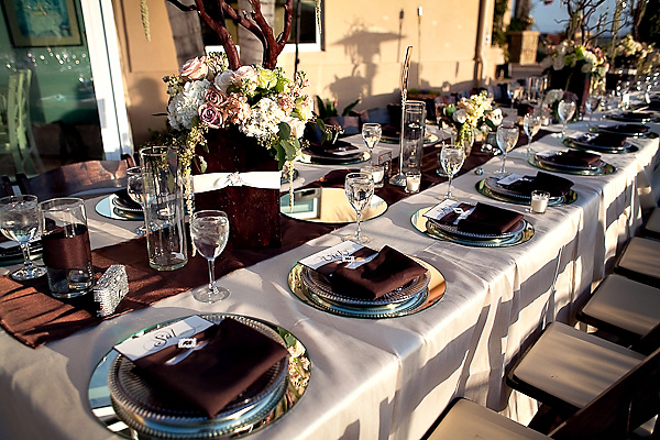 Brown And Gold Wedding Ideas: Silver Mirror Chargers At Wedding Reception