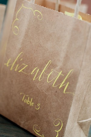 Unique Wedding Ideas Paper Bag Favors with Calligraphy