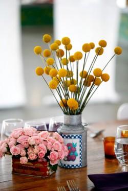 Wedding Flowers in Vintage Tins