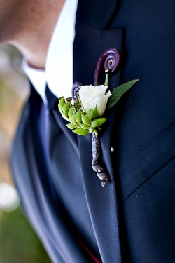 White Rose and Monkey Tail Boutonniere