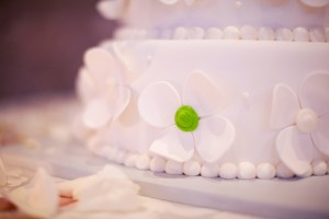 White Wedding Cake with Green Accents