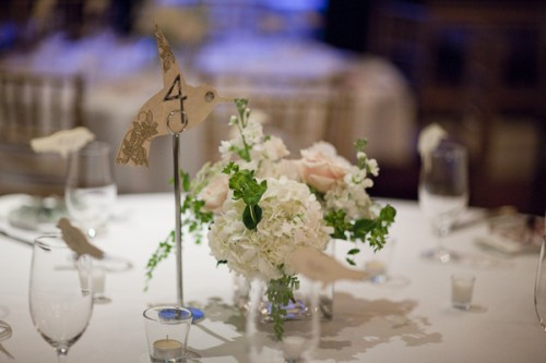 White and Pink Centerpiece DIY Table Numbers