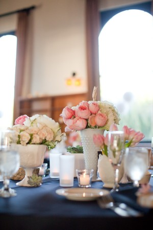 White-and-Pink-Flowers-in-Milk-Glass-Vases