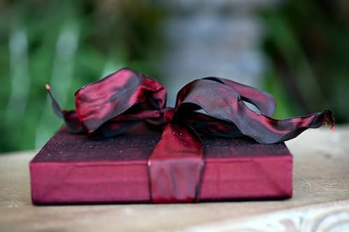 Wine Colored Silk Boxed Wedding Invitation