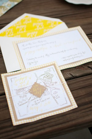 Yellow Gingham and Kraft Paper Custom Calligraphy Map Invitations